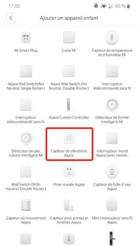 Ajout du capteur de Vibration Xiaomi Aqara dans Mi Home