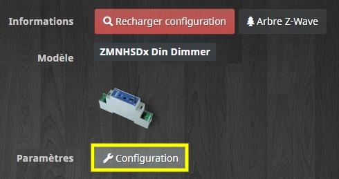 Accéder à la configuration du module Qubino ZMNHSD1 Din dimmer variateur Z-Wave+ compatible avec Jeedom
