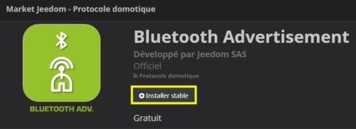 installation du plugin Bluetooth via le Market de Jeedom