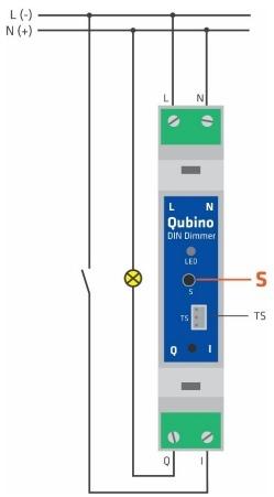 """Schéma de branchement pour Qubino ZMNHSD1 """"DIN Dimmer"""" Module variateur Z-Wave+ compatible avec Jeedom"""