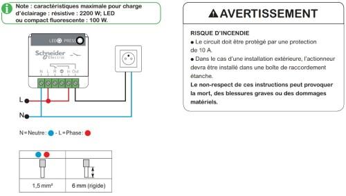 Installation actionneur minuteur générique 10A sans fil sans pile Odace SFSP de schneider electric compatible avec Jeedom